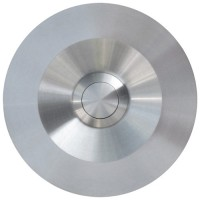 round doorbell button, massive stainless steel, wall-mounted