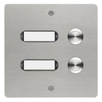 rectangular doorbell panel, 3 pushes, stainless steel, flush-mounted