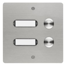 rectangular doorbell panel, 3 pushes, stainless steel, flush-mounted
